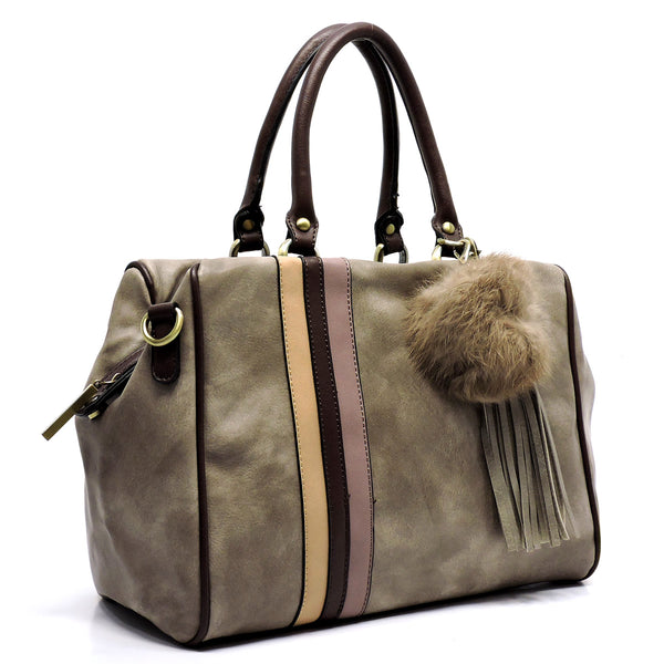 Stone Striped Boston Satchel Bag Purse