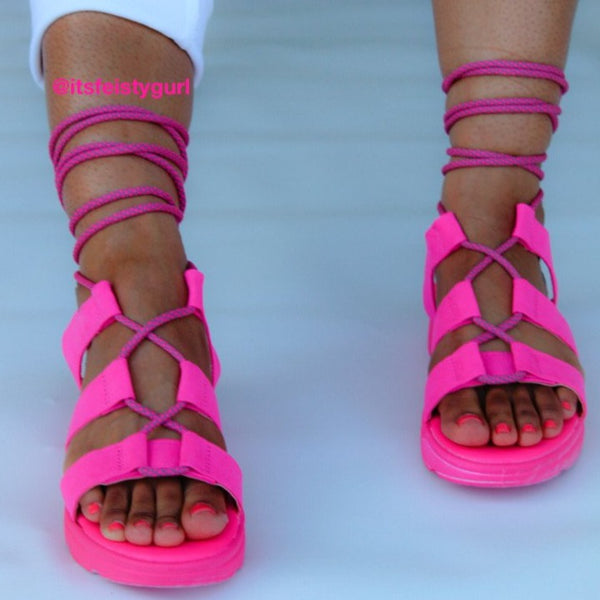 Pink Lace Up Gladiator Sandal