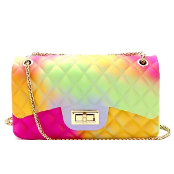 Rainbow Shoulder Bag With Chain Strap
