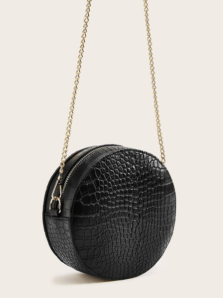 Croco Print Chain Round Crossbody Bag