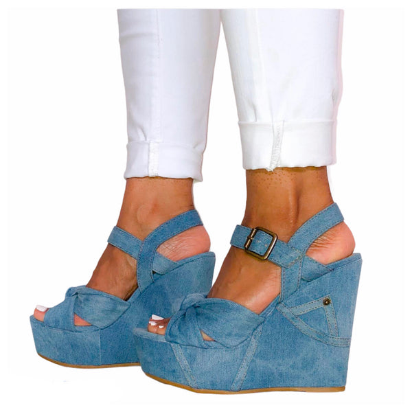 FINAL SALE - Denim Wedge Sandal Bow And Jean Pocket