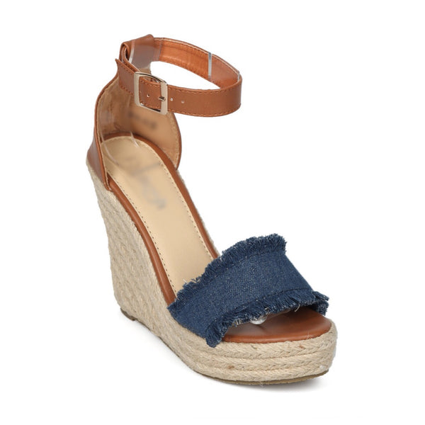 FINAL SALE - Denim Wedge Sandal
