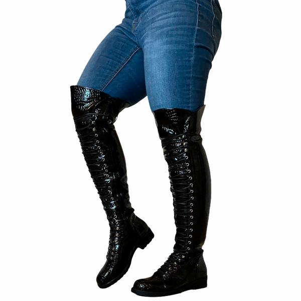 FINAL SALE - Croco Thigh High Lace Up Combat Boots