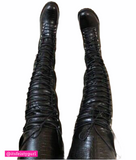 Croco Thigh High Lace Up Combat Boots - Black