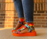 Tie Dye Print Sandals with Bow Detail - Orange