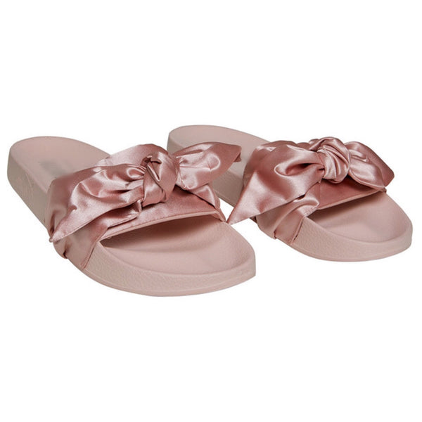 Pink Satin Bow Slide Slipper