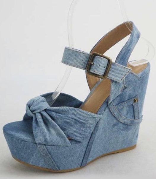 Denim Wedge Sandal With Bow And Jean Pocket