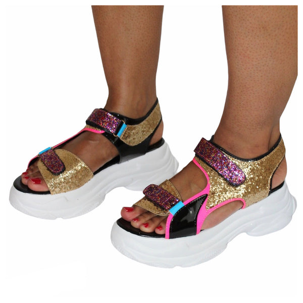 FINAL SALE - Glitter Multicolor Strappy Sport Platform Sandal