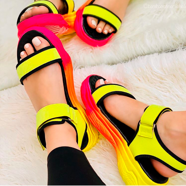 Yellow Fire Sport Platform Sandal