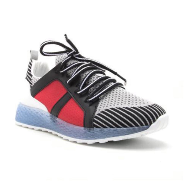 Grey/Red Colorblock Lace Up Sneaker