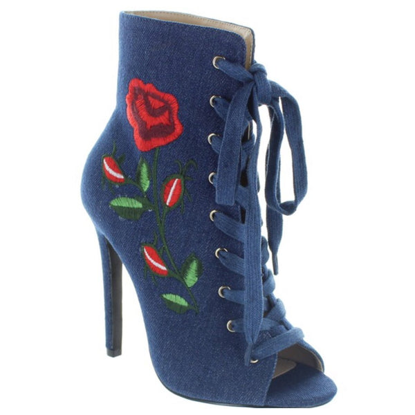 Denim Embroidered Floral Rose Lace Up Ankle Boot