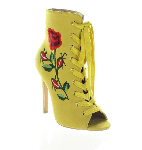 Yellow Embroidered Floral Suede Lace Up Ankle Boot