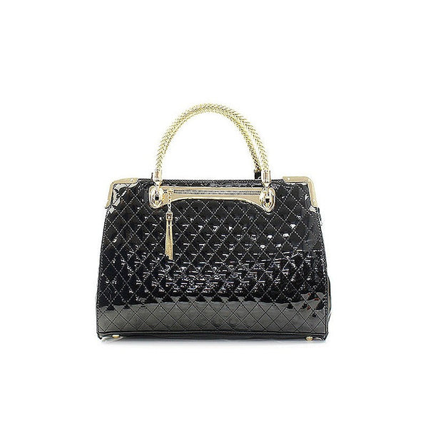 Patent Quilted Satchel