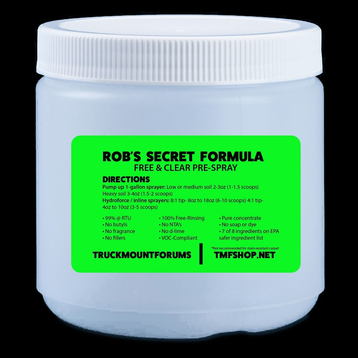 Robs Secret Formula SAMPLE - TMF Store: Carpet Cleaning Equipment & Chemicals from TruckMountForums