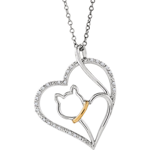 Sterling Silver & 10kt Yellow 1/10 CTW Diamond Cat Heart