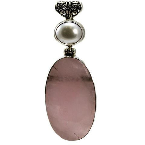 Sterling Silver Rose Quartz and Freshwater Pearl Pendant