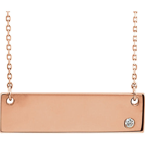 14K Rose Gold .025 CTW Bar