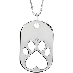 "Sterling Silver Diamond Dog Tag Necklace with 18"" Chain"