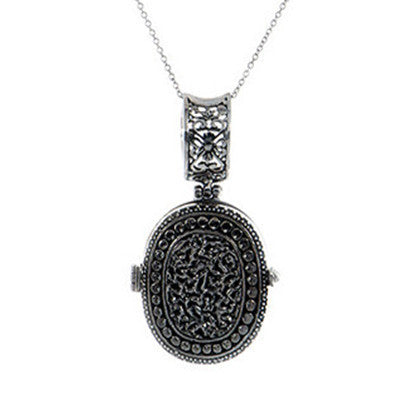 Oval Textured Locket Pendant W/Chain