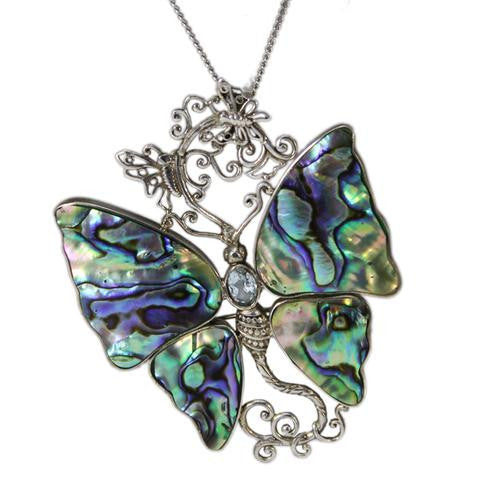 Sterling Silver Abalone and Blue Topaz Butterfly Pendant/Pin Necklace