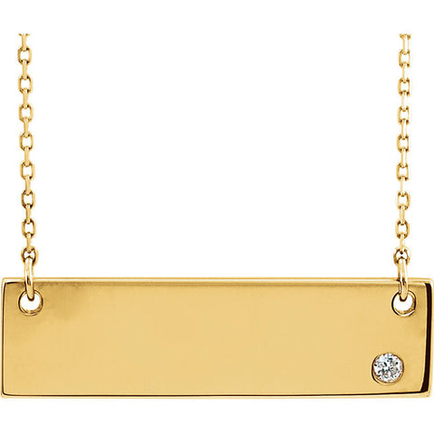 14K Yellow Gold .025 CTW Bar