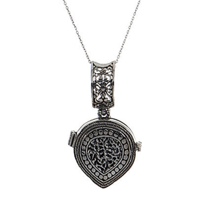 Teardrop Textured Locket W/Chain