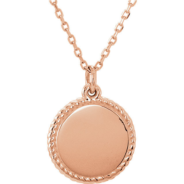 14K Engravable Round Rope Necklace