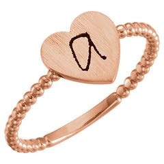 14K White Heart Engravable Beaded Ring