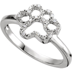 Sterling Silver .06 CTW Diamond Paw Ring Size 7
