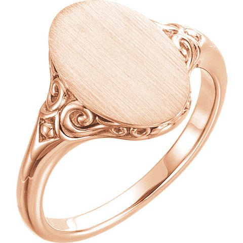 14K Gold Oval Signet Ring