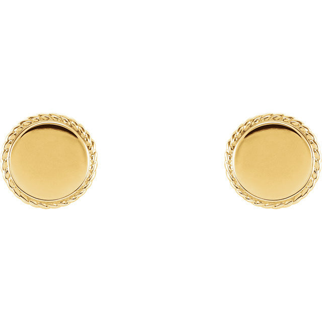 14K Gold Engravable Rope Earrings