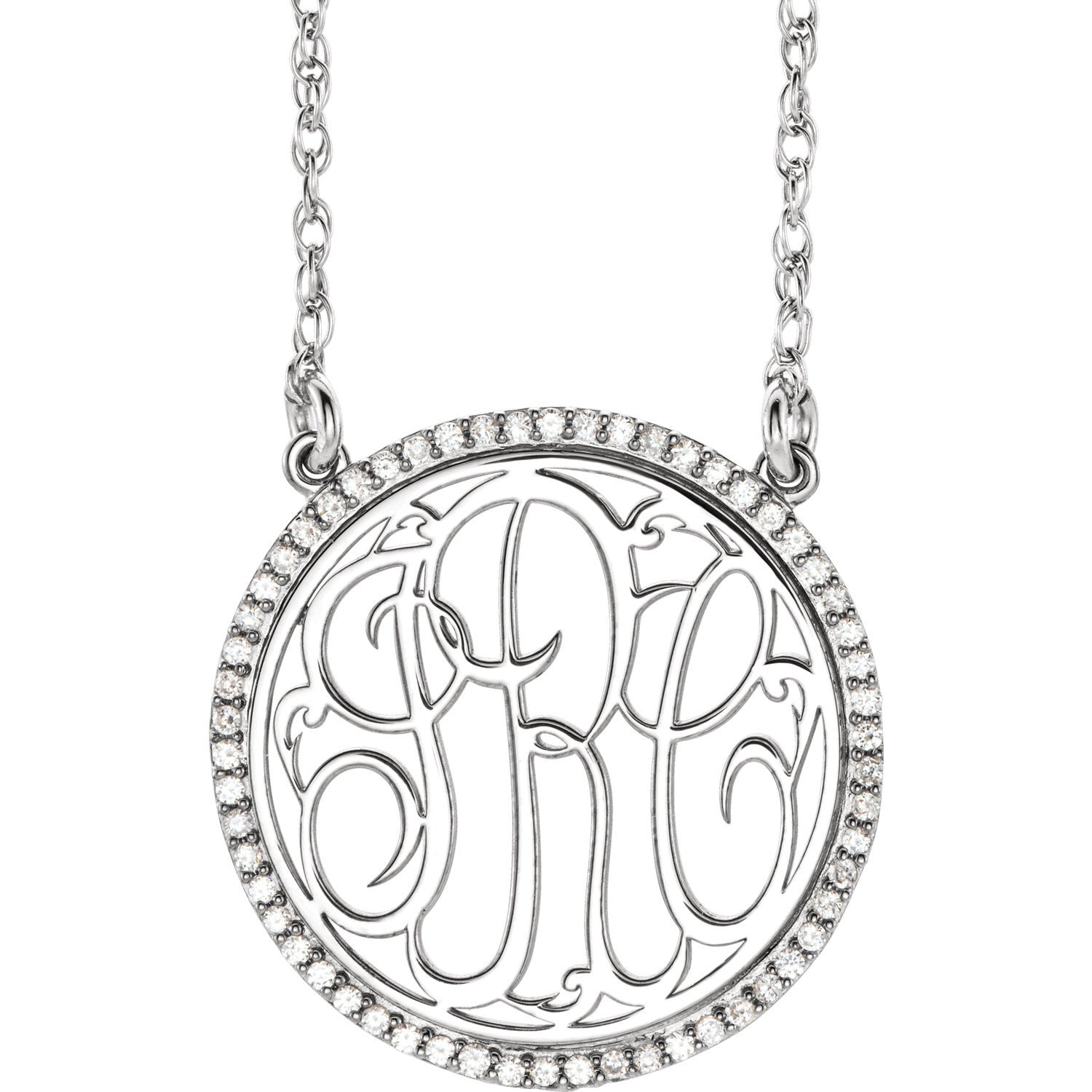 14K White 1/4 CTW Diamond Script Monogram 18