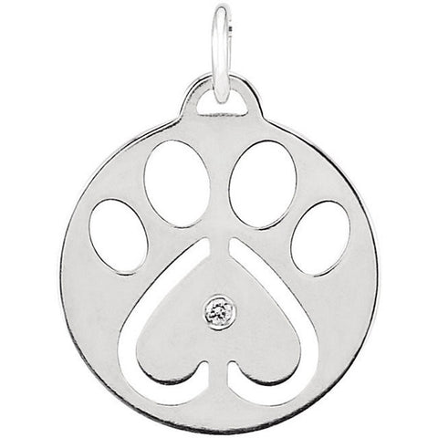Sterling Silver Diamond Dog Paw Charm
