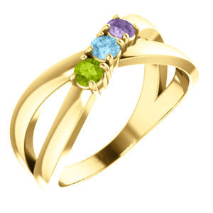 14K Yellow Three-Stone Family Ring Mounting