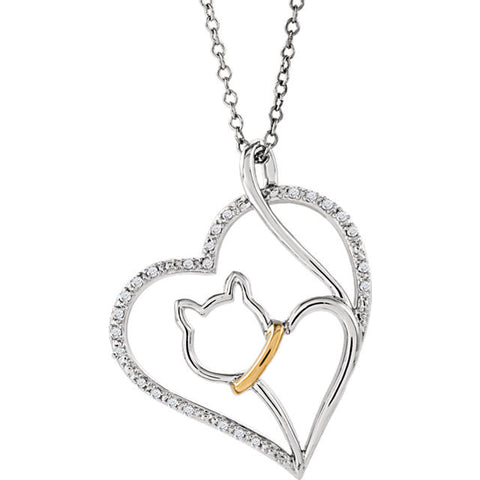 "Sterling Silver & 10kt Yellow 1/10 CTW Diamond Cat Heart 18"" Necklace"