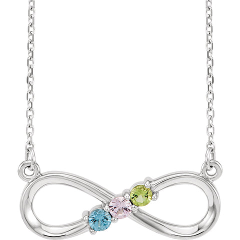 "14K White Three-Stone Family Infinity-Inspired 17"" Necklace Mounting"