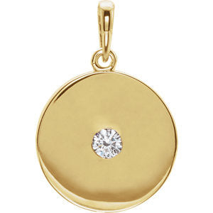 14K Rose Diamond Disc Pendant