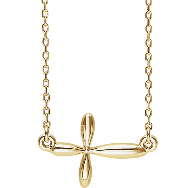 14K White Sideways Cross Necklace