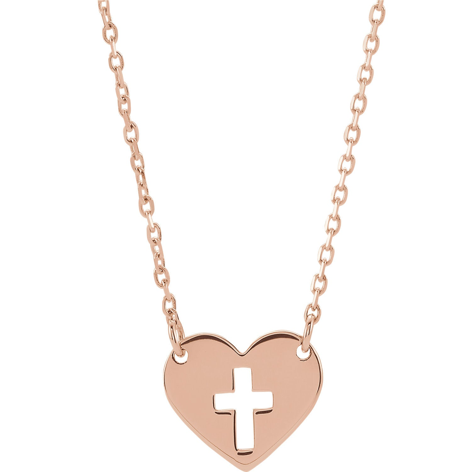 14K Rose Pierced Cross Heart Necklace