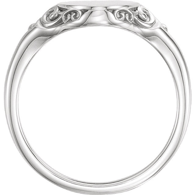 Sterling Silver Oval Signet Ring