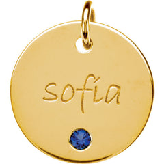 14K Gold 14.29mm Round Posh Mommy® Engravable Medium Disc Pendant Mounting