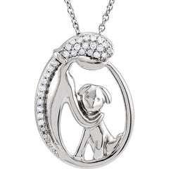 "Sterling Silver 1/10 CTW Diamond Silhouette of Lady & Puppy 18"" Necklace"
