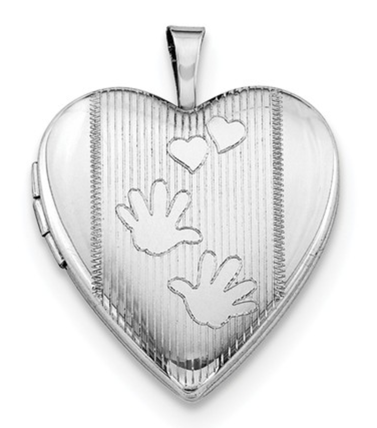 Sterling Silver Rhodium-Plated 20mm Hands Heart Locket