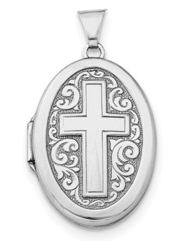 Sterling Silver Rhodium-Plated Oval Cross Locket