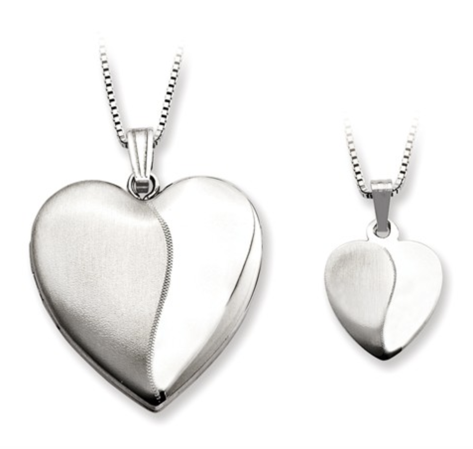 Satin Heart Locket W/Chain