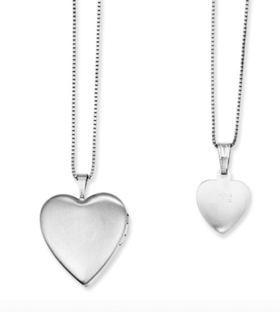 Sterling Silver  Swirl Design Heart Locket And Pendant