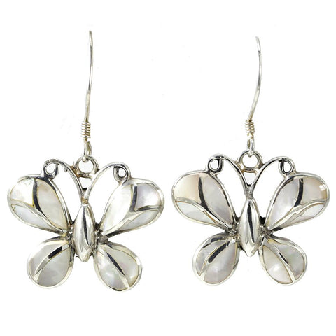 Silver Butterfly Mother of Pearl Earrings