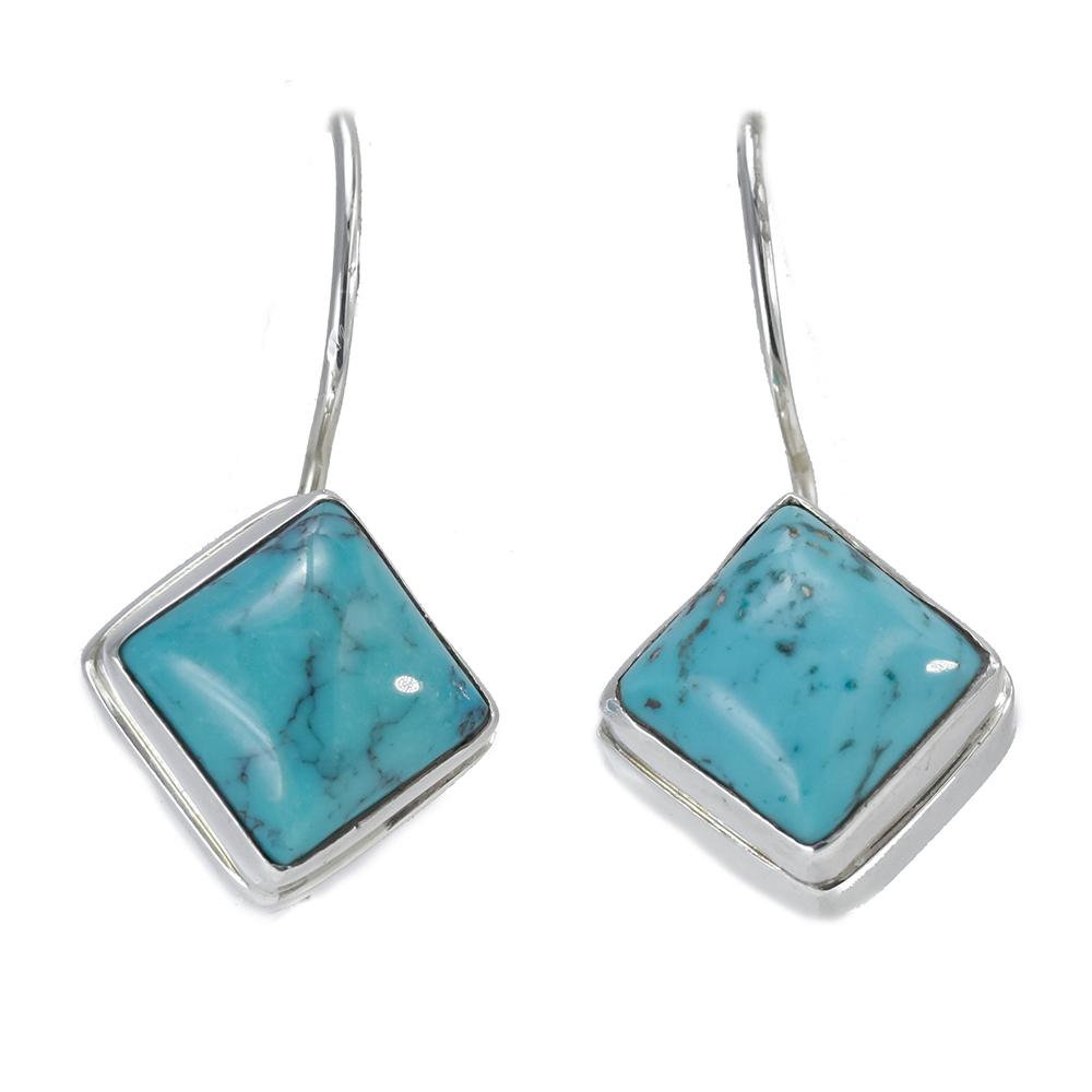 Sterling Silver Square-Cut Turquoise Earrings