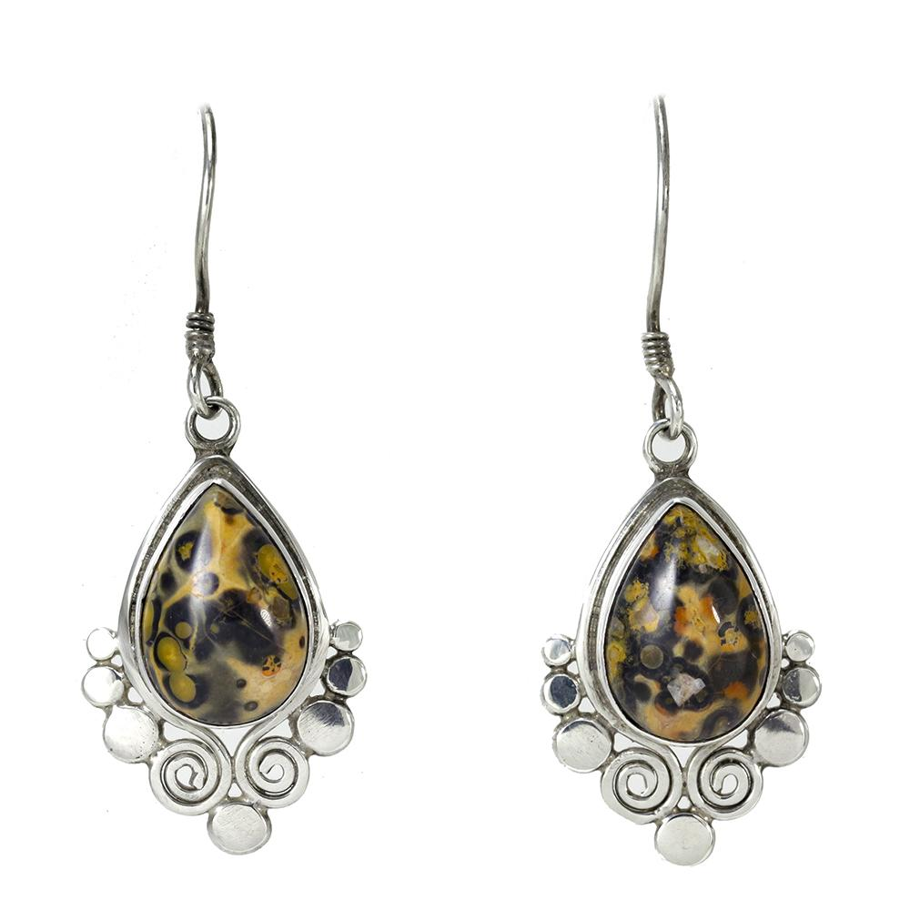 Sterling Silver Pear-Shaped Agate Earrings