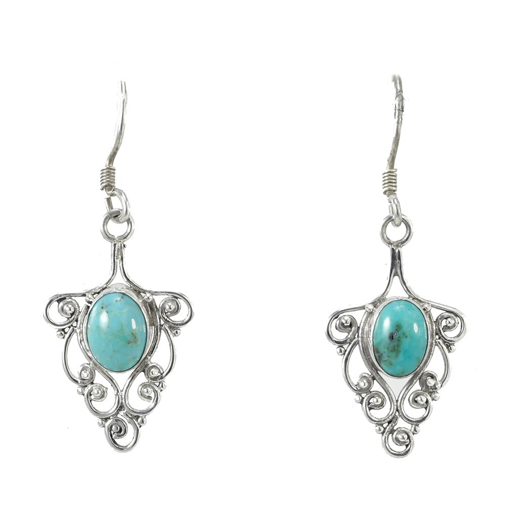 Oval Filigree Turquoise Earrings